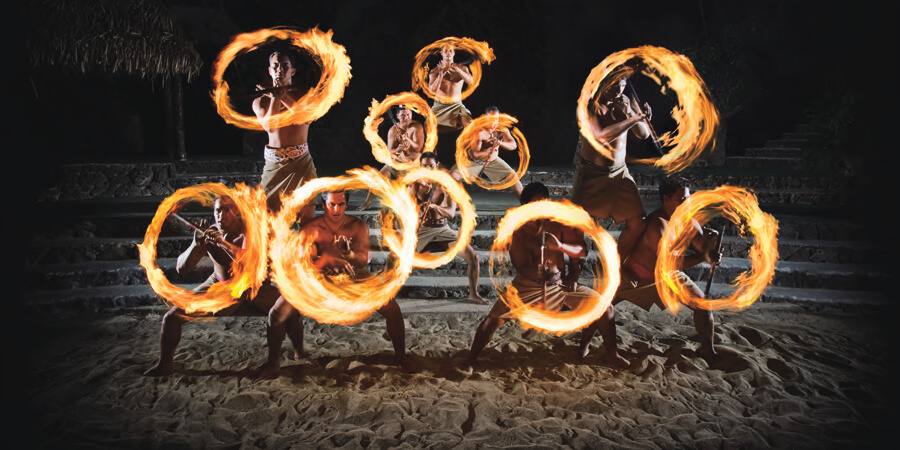 Fire knife performers
